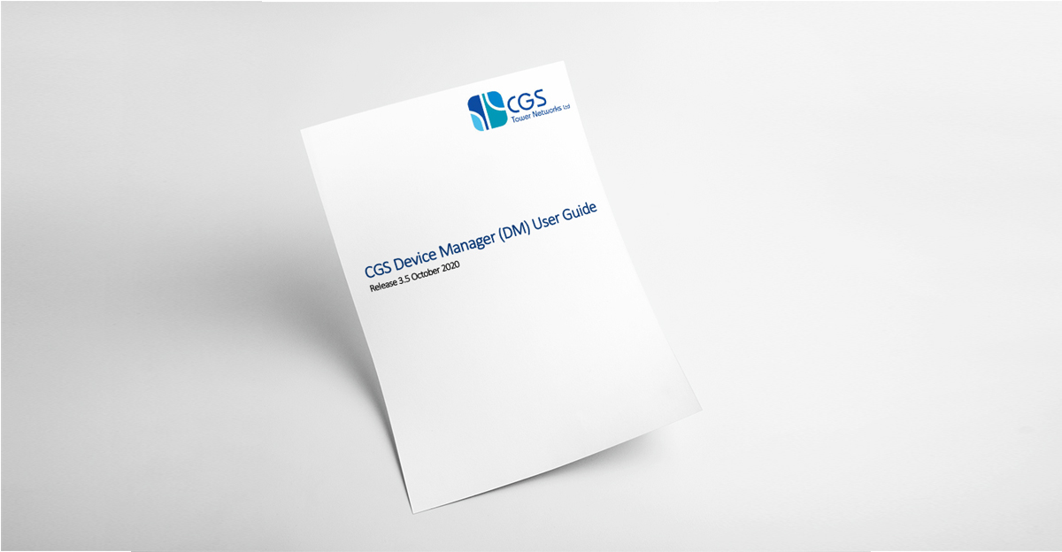 CGS Device Manager  (DM) User Guide